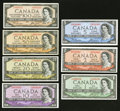 "Canadian Currency: , A $1 to $100 Denomination Set of Canadian ""Devil's Face""Beattie-Coyne Notes.. ... (Total: 7 notes)"