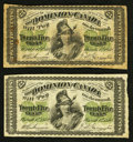 Canadian Currency: , DC-1a 25¢ 1870. DC-1b 25¢ 1870. ... (Total: 2 notes)
