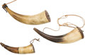 Arms Accessories:Horns, Lot of Three 19th Century American Powder Horns With Carved Wood Bases.... (Total: 3 Items)