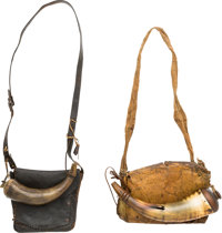 Two American 19th Century Powder Horns With Animal Skin Bags