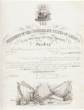Military & Patriotic:Civil War, Extremely Rare Blank Confederate Naval Commission, Printed in England on Vellum....