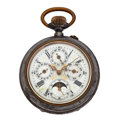 Timepieces:Pocket (post 1900), Fancy Moonphase Swiss Chronograph With Four Registers. ...