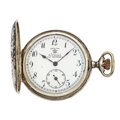 "Timepieces:Pocket (post 1900), Swiss ""Orion"" Niello Gold & Silver Hunter's Case Pocket Watch...."