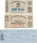 Autographs:Military Figures, Confederate Juliet Opie Hopkins Check Signed and Alabama Script.... (Total: 3 Items)