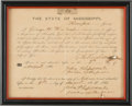 Autographs:Military Figures, State of Mississippi Oath of Allegiance....
