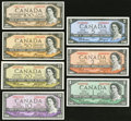 Canadian Currency: , A $1 to $100 Denomination Set of 1954 Issue Canadian Notes.. ...(Total: 7 notes)