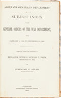 Miscellaneous:Booklets, General Orders Subject Index Reference Book....