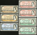 Canadian Currency: , Seven Canadian Notes.. ... (Total: 7 notes)