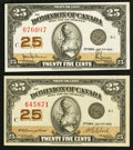 Canadian Currency: , DC-24b 25¢ 1923. DC-24d 25¢ 1923. ... (Total: 2 notes)