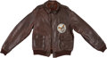 """Military & Patriotic:WWII, Fantastic Painted A-2 Leather Flight Jacket """"Flying Dutchman"""" Identified to Lt. David Greiss, Navigator, 7th Bomb Sq... (Total: 4 Items)"""