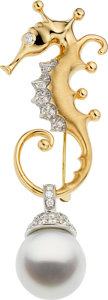 Estate Jewelry:Rings, South Sea Cultured Pearl, Diamond, Platinum, Gold Brooch, AngelaCummings for Assael. ...