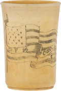 """Military & Patriotic:Civil War, Civil War Bone Cup Carved With Flag Motif and """"Co. F 14 Conn.""""..."""