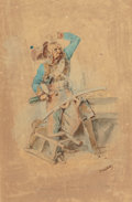 Fine Art - Work on Paper:Drawing, NICOLAS-TOUSSAINT CHARLET (French, 1792-1845). Soldiers fromNapoleon's 'Grande Armée' (two works). Watercolor and penci...(Total: 2 Items)