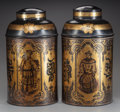 Asian:Chinese, A PAIR OF CHINESE-STYLE PAINTED TOLE TEA CANISTERS WITH LIDS, 19thcentury. Marks: (character mark). 18 inches high (45.7 cm...(Total: 2 Items)