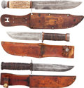 Edged Weapons:Knives, Lot of Three Hunting Knives in Leather Scabbards.... (Total: 3Items)