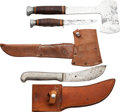 Edged Weapons:Other Edged Weapons, Lot of Three Camping/Skinning Knives and Hatchet.... (Total: 2 Items)