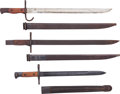 Edged Weapons:Bayonets, Lot of Three Bayonets with Scabbards.... (Total: 3 Items)