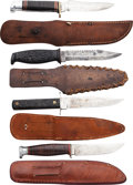 Edged Weapons:Knives, Lot of Four Assorted Hunting Knives with Leather Scabbards....(Total: 4 Items)