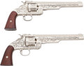 Handguns:Single Action Revolver, Pair of Non Firing Engraved Copies of Smith and Wesson No. 3 American Single Actions Revolvers.... (Total: 2 Items)