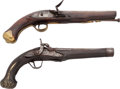Handguns:Muzzle loading, Lot of Two Late 18th Century Muzzle Loading Pistols.... (Total: 2Items)