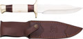 Edged Weapons:Knives, Boxed Hen & Rooster Model HR-0004 Bowie Knife with LeatherScabbard....