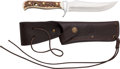 Edged Weapons:Knives, Boxed Puma Handmade Skinner Knife with Leather Scabbard....