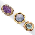 Estate Jewelry:Rings, Mabe Pearl, Blue Topaz, Amethyst, Gold Rings. ... (Total: 3 Items)