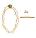 Estate Jewelry:Lots, Cultured Pearl, Gold Jewelry. ... (Total: 3 Items)
