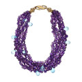 Estate Jewelry:Necklaces, Amethyst, Blue Topaz, Gold-Plated Necklace. ...