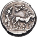 Ancients:Greek, Ancients: SICILY. Syracuse. Deinomenid Tyranny. Ca. 485-466 BC. AR tetradrachm (26mm, 17.51 gm, 12h)....