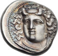 Ancients:Greek, Ancients: THESSALY. Larissa. Mid to late 4th century BC. AR drachm(20mm, 6.11 gm, 11h)....