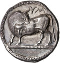 Ancients:Greek, Ancients: LUCANIA. Sybaris. Ca. 550-510 BC. AR stater or nomos(25mm, 7.58 gm, 12h). ...