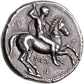 Ancients:Greek, Ancients: CALABRIA. Tarentum. Ca. 340-325 BC. AR stater or nomos(21mm, 7.97 gm, 6h). ...