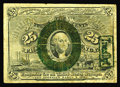 Fractional Currency:Second Issue, Fr. 1283 Milton 2R25.1c 25¢ Second Issue Treasury Rectangle Very Fine. The note is well circulated, and it has some holes on...