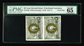 "Fractional Currency:Second Issue, Fr. 1286 25c Second Issue Vertical Pair PMG Gem Uncirculated 65. PMG adds the comments ""Vivid Details"" to its holder. This F..."