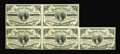 Fractional Currency:Third Issue, Fr. 1226 Milton 3R3.1q 3¢ Third Issue Block of Five Courtesy Autograph Choice About New. Each of the five notes is signed by...