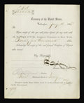 Fractional Currency:Shield, F.E. Spinner Signed Treasury Form - Jan. 14, 1868. Spinner's distinctive signature adorns this Treasury form that instructs ...