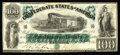 Confederate Notes:1861 Issues, T5 $100 1861. The technical grade of this note is Crisp Uncirculated as there are no visible folds. However, on the back...