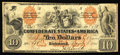 Confederate Notes:1861 Issues, T22 $10 1861. This is an attractive mid-grade plate B example of this popular design that has retained crispness and body.