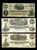 Confederate Notes:1862 Issues, T39 $100 1862 Choice CU, with pre-printing paper crinkle. T40 $1001862 XF-AU. T41 $100 1862 Scroll 1 Choice CU.. ... (Total: 3 notes)
