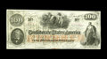 Confederate Notes:1862 Issues, T41 $100 1862. This pleasing two color emission of the Confederacycarries a CSA block watermark and numerous stamps. A pinh...