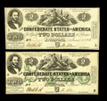 Confederate Notes:1862 Issues, T42 $2 1862 XF. T43 CU, with pre-printing paper crinkle.. Here isan example of each June 2, 1862 Deuce.. From The B... (Total: 2notes)