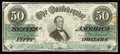 Confederate Notes:1862 Issues, T50 $50 1862. This Jefferson Davis example is quite crisp and ismarred only by an area of rust on the face and a pinhole.