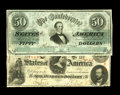 Confederate Notes:1862 Issues, T50 $50 1862 Fine-VF, CC. T56 $100 1862 Fine.. The Lucy PickensC-note displays an approximate half inch left edge tear ... (Total:2 notes)