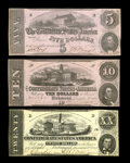 Confederate Notes:1862 Issues, T51 $20 1862 Choice AU, CC. T52 $10 1862 Choice CU. T53 $5 1862XF.. From The Benjamin Rush Powel Collection of ... (Total: 3notes)