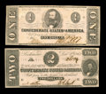Confederate Notes:1862 Issues, T54 $2 1862 Choice CU. T55 $1 Choice CU.. From The Benjamin RushPowel Collection of Confederate Currency.... (Total: 2 notes)