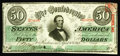 Confederate Notes:1863 Issues, T57 $50 1863. Serial number embossing is noticed on this $50. Choice Crisp Uncirculated.. From The Benjamin Rush Powel...