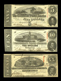 Confederate Notes:1863 Issues, T58 $20 1863 Choice CU. T59 $10 1863 Choice CU. T60 $5 1863 Choice CU.. From The Benjamin Rush Powel Collection ... (Total: 3 notes)