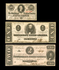 Confederate Notes:1863 Issues, T61 $2 1863 AU. T62 $1 1863 CU. T63 Cents 1863 First Series ChoiceAU.. The T62 has a couple of pinholes and a small... (Total: 3notes)