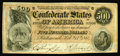 Confederate Notes:1864 Issues, T64 $500 1864. Serial number embossing marches on the back of this Jackson D-note signed by Mrs. V. (M.) Penrifoy and (Miss)...